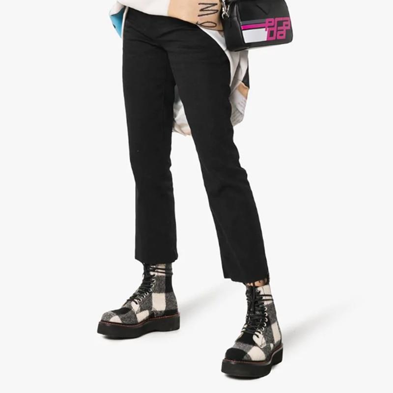 Mode De À Femmes Ins Semelles Épais Blanc Cuir Show Compensées Rond Pour L'armée Chaussures Roe Mujer Talons Bottes Plaid En As Lacets Biker Noir Botines t7qwzz