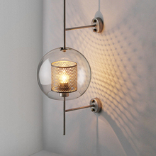 Modern LED Wall Light Transparent Glass Shade Scones Lamps Bedroom Bedsides Restaurant Study Hang Loft Iron Fixtures