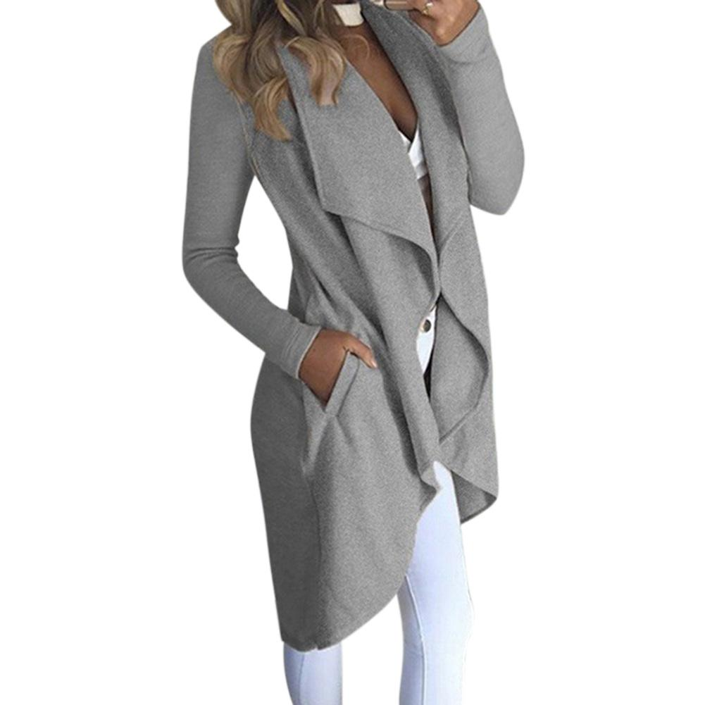 MISSKY New Women Trench Lapel Collar Solid Color Long Sleeve Slim Fit Wind Coat With Pockets For Spring Autumn