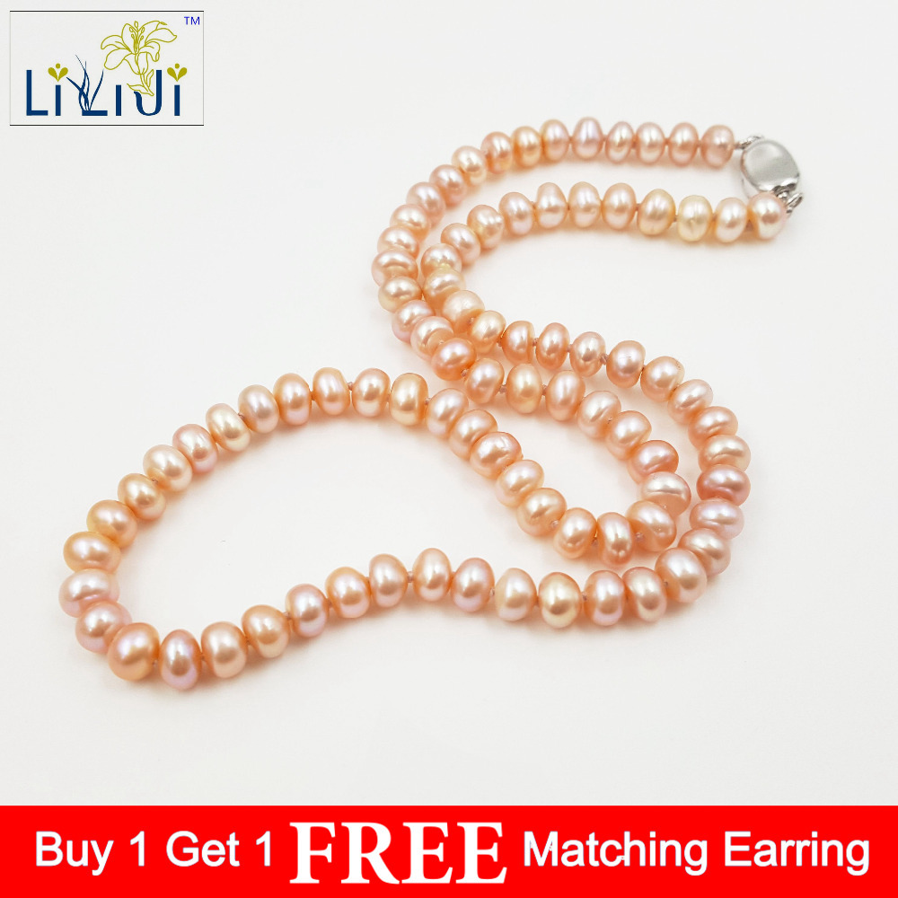Lii Ji Natural Pink Freshwater Pearl Jewelry approx 6 7mm 925 Sterling Silver Necklace