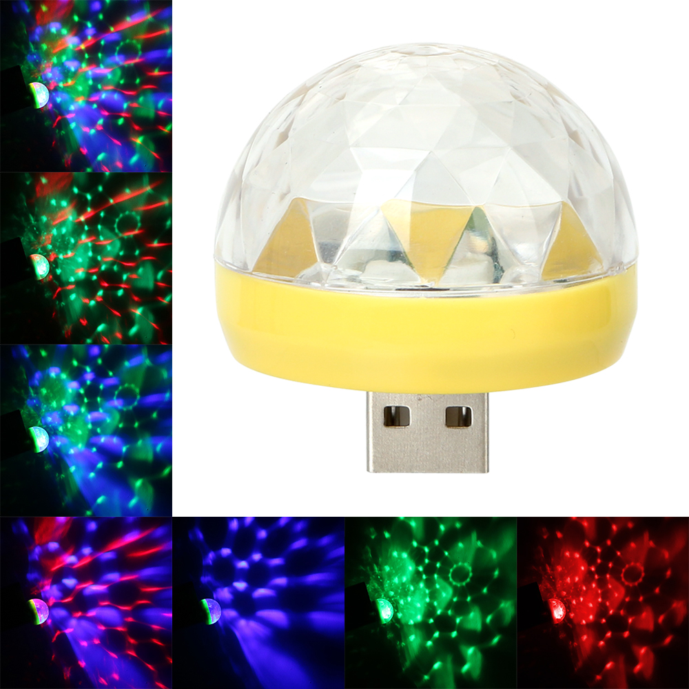 YOSOLO Decorative Lamp Car LED Atmosphere Light DJ RGB Lamp USB Club Disco Magic Stage Effect Light Auto Interior Light Ornament