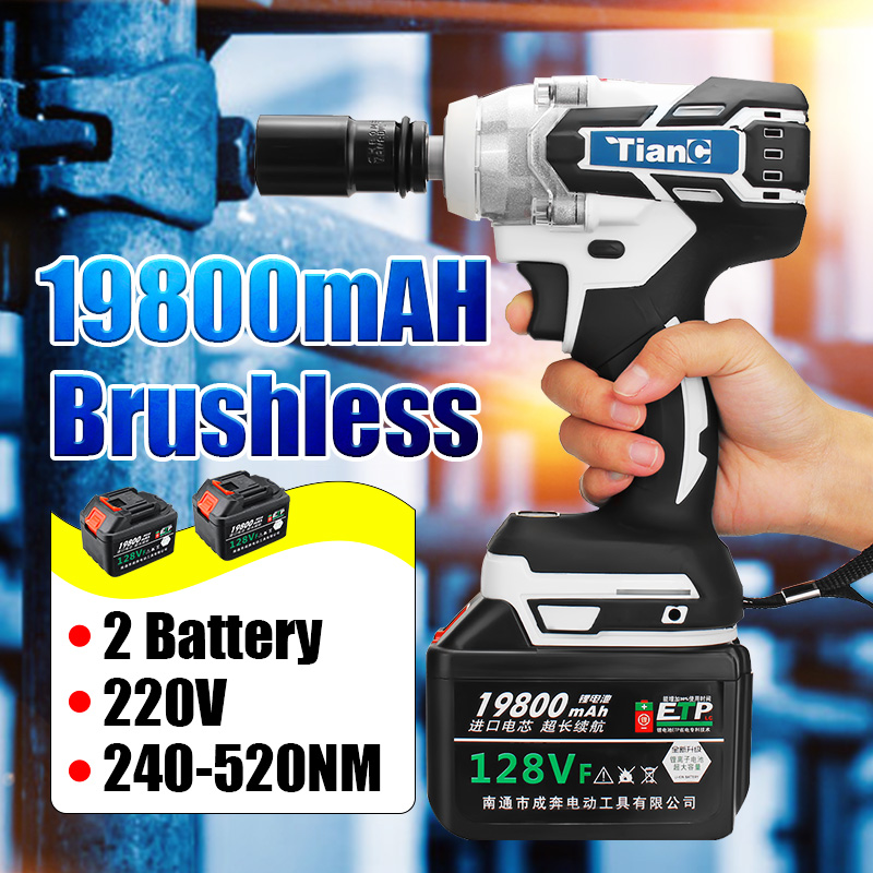 3 In 1 128V 19800mAH Electric Cordless Brushless Hammer Power Drill Screwdriver 240-520NM Adjustable Stepless Speed Regulation