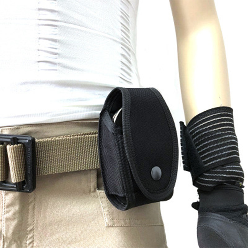 Police Bag Military Enhanced Molded Belt Mounted Security Single Handcuff Pouch Outdoor Hunting Multifunction Bag Black