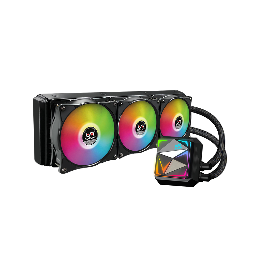 SOPLAY CPU Water Cooler Cooling Cooler Fans CPU Radiator RGB Silent 360mm Radiator Support Intel AMD