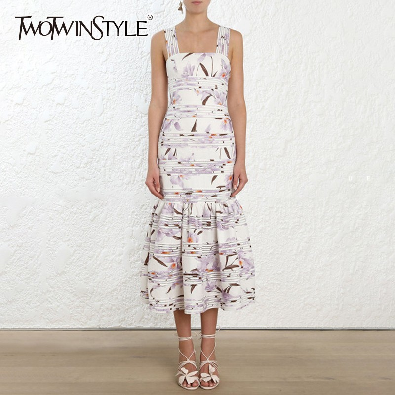 TWOTWINSTYLE Elegant Strap Dress Female Sleeveless High Waist Printed Floral Dresses Women Big Size 2019 Summer