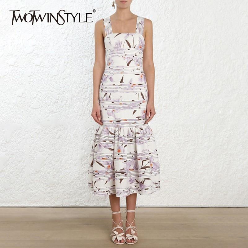 TWOTWINSTYLE elegante Strap vestido femenino sin mangas de cintura alta estampado Floral vestidos de mujer talla grande 2019 ropa de moda de verano-in Vestidos from Ropa de mujer    1