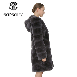 Image 5 - SARSALLYA Rex Rabbit Fur Coat Women Natural Fox Fur With Hooded Jacket Thick Coats Vest Warm Winter Womens Clothing Overcoat