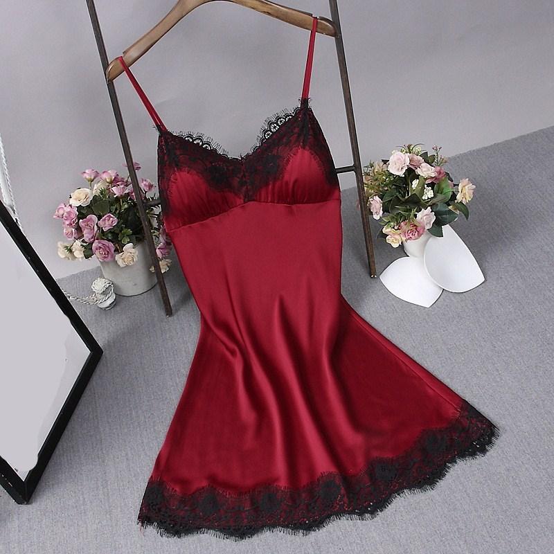 2019 Hot Sale Fashion Women Patchwork Black Lace Slim   Nightgowns   Summer Sexy Sling Thin Rayon   Sleepshirts
