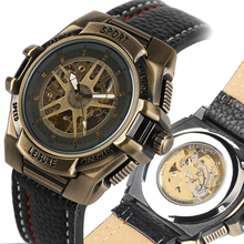Montres de Sport automatique-montre à remontage automatique Bronze mécanique montres bracelet en acier inoxydable cadran squelette Style hommes montre montres