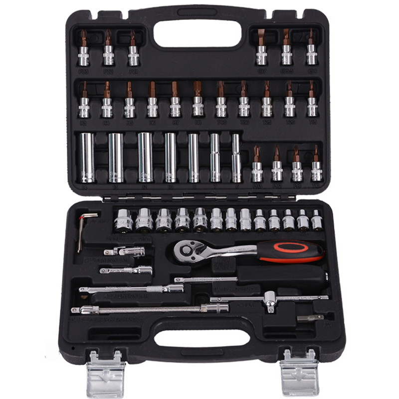 Multifunction 53pcs 1/4-Inch Socket Set Car Repair Tool Ratchet Set Torque Wrench Combination Bit a set of keys Chrome Vanadium mainpoint 1 4 1 2 3 8 e socket sockets set cr v torx star bit combination drive socket nuts set for auto car repair hand tool