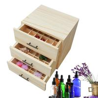 Three Layers 96 Compartment Essential Oil Bottle Display Stand Holder Storage Wooden Box Large Aromatherapy Oil Storage Box