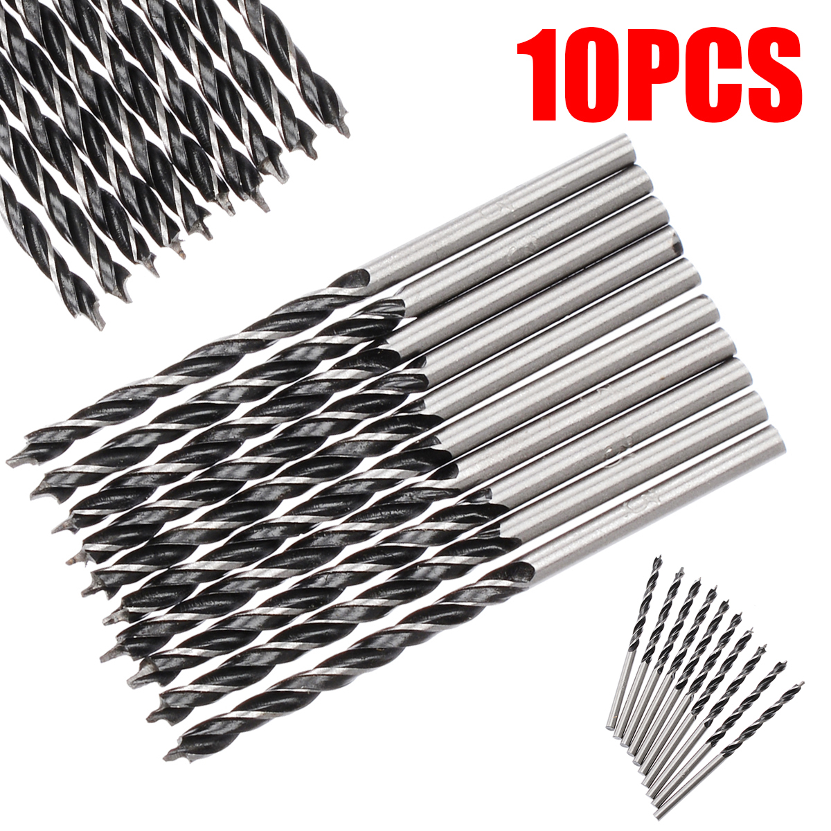 10pcs 3mm Diam Twist Drill Bit Wood Drill Bits With Center Point High Strength Drilling Tool For Woodworking