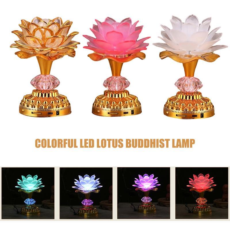 Lotus Flower Lights Buddha Bright Lamp LED Colorful Light Lotus Lanterns Buddha Prayer Machine Goddess Buddhist Music US PLUG