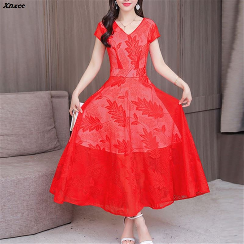 Women Summer Dress 2018 Plus Sizes 3XL Casual Sexy Vintage Elegant Evening Party Dress Short Sleeve Lace Dresses Vestidos Xnxee
