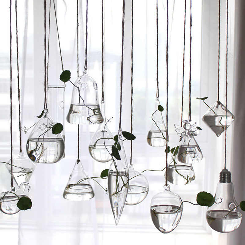 Flower Hanging Vase Glass Planter Plant Terrarium Container Garden Home Wedding Decor