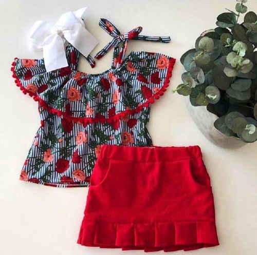 Детская футболка с бахромой и цветочным принтом для маленьких девочек топы + красная юбка, комплект одежды летние комплекты из 2 предметов