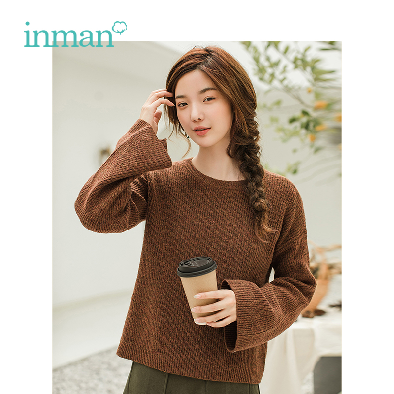 INMAN Winter New Arrival Round Collar Loose Trumpet Sleeves Casual Wild Models Woman Pullover Sweater
