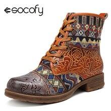 cf9d38b9e3a253 Socofy Vintage Véritable En Cuir cowboy western bottes femmes chaussures  Femme Bohème Rétro Moto bottines Sport Chaussons Botas