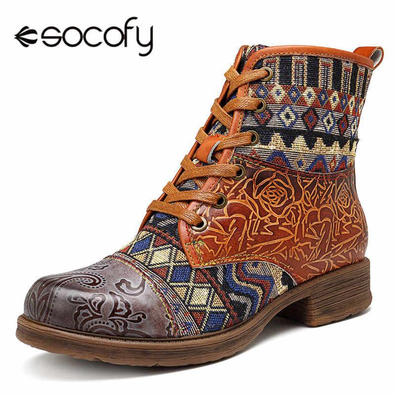 Socofy Vintage Hakiki Deri Batı Kovboy çizmeler kadın ayakkabıları Kadın Bohemian Retro Motosiklet yarım çizmeler Spor Patik Botas