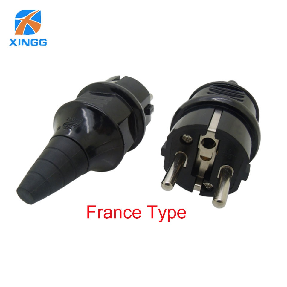EU Waterproof IP54 Industrial Electrical Power French Type E Rewireable Plug Male Socket Outlet Adaptor