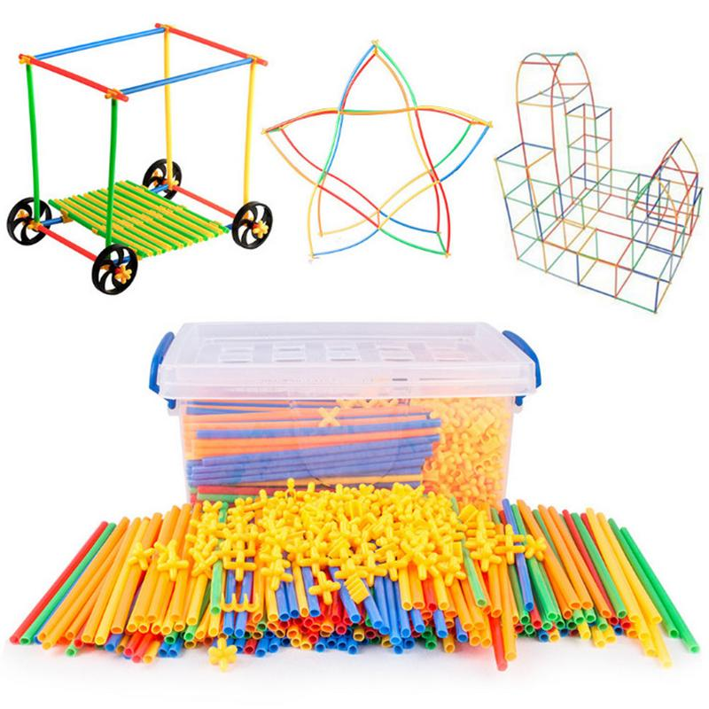 100Pcs 4D DIY Plastic Toys Straw Inserted Construction Building Blocks Kits Assembly Toys Blocks Bricks Christmas Gift For Kids