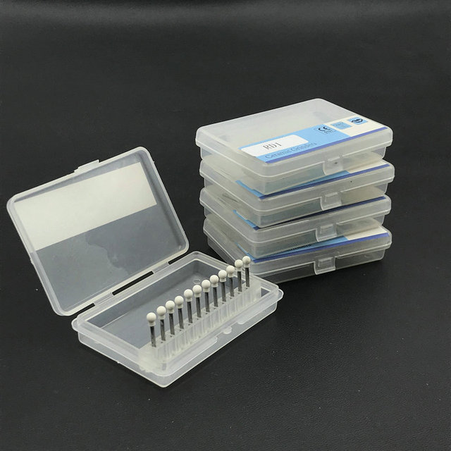 60pcs/5sets Dental White Stone Porcelain Resin Handpiece Polishing Bur Round Kit RD1