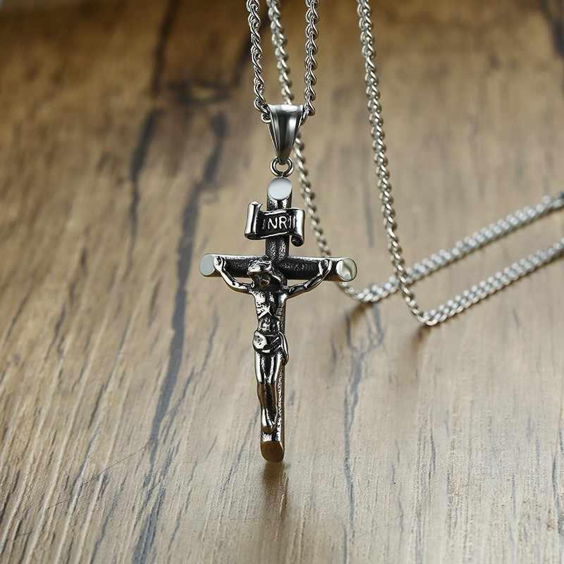 Vantage мужские распятие серебряное ожерелье в винтажном стиле из нержавеющей стали итальянская цепь мужской Шарм кулон с крестиком