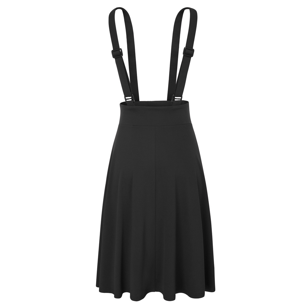 Fashion Women Lady Retro Skater High Waisted Suspender Skirt Flared Mini Dresses