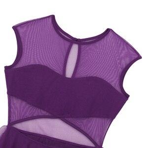 Image 4 - Robe asymétrique sans manches découpée devant, maille asymétrique, pour le Ballet, justaucorps, gymnastique, vêtements de performance pour le Ballet