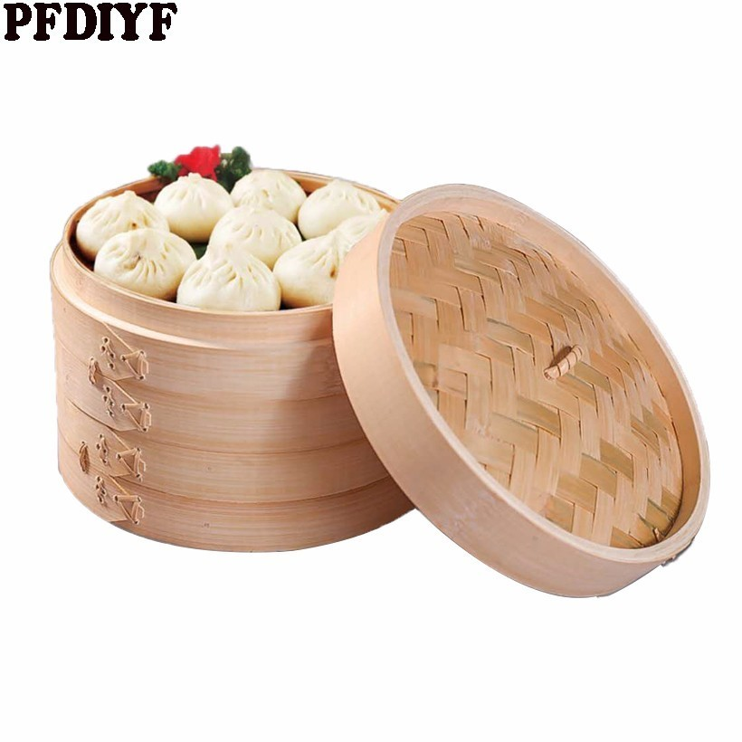 One Cage or Lid Cooking Bamboo Steamer for Fish Rice Vegetable Snack Basket Set Kitchen Cooking Tools Dumpling Steamer 13.5-30cm
