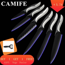 MYVI 6pcs/set Kitchen Knives Professional Chef Knife Paring Santoku Slicing Steel Black ABS+TPR Handle Dropshipping