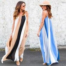 e48edeb130 Letnia sukienka 2019 Boho bez rękawów długa sukienka w paski kobiety  szyfonowa plaża Loose Maxi sukienki