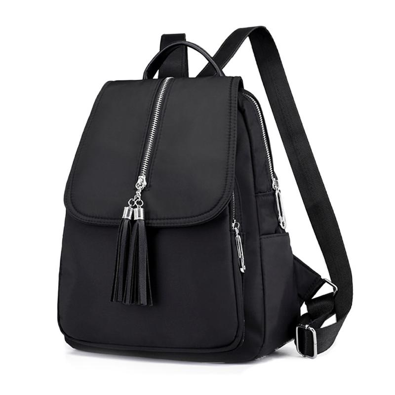 Fashion Tassel School Backpack Women Shoulder Bag Solid Black School Bag For Teenager Girls Casual Women Backpacks Dropshipping