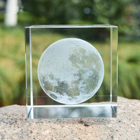 Crystal Glass Cube Moon Dandelion Paperweights Clear Rare 3D Laser Engraving Figurines Miniatures For Home Wedding Decor Gift