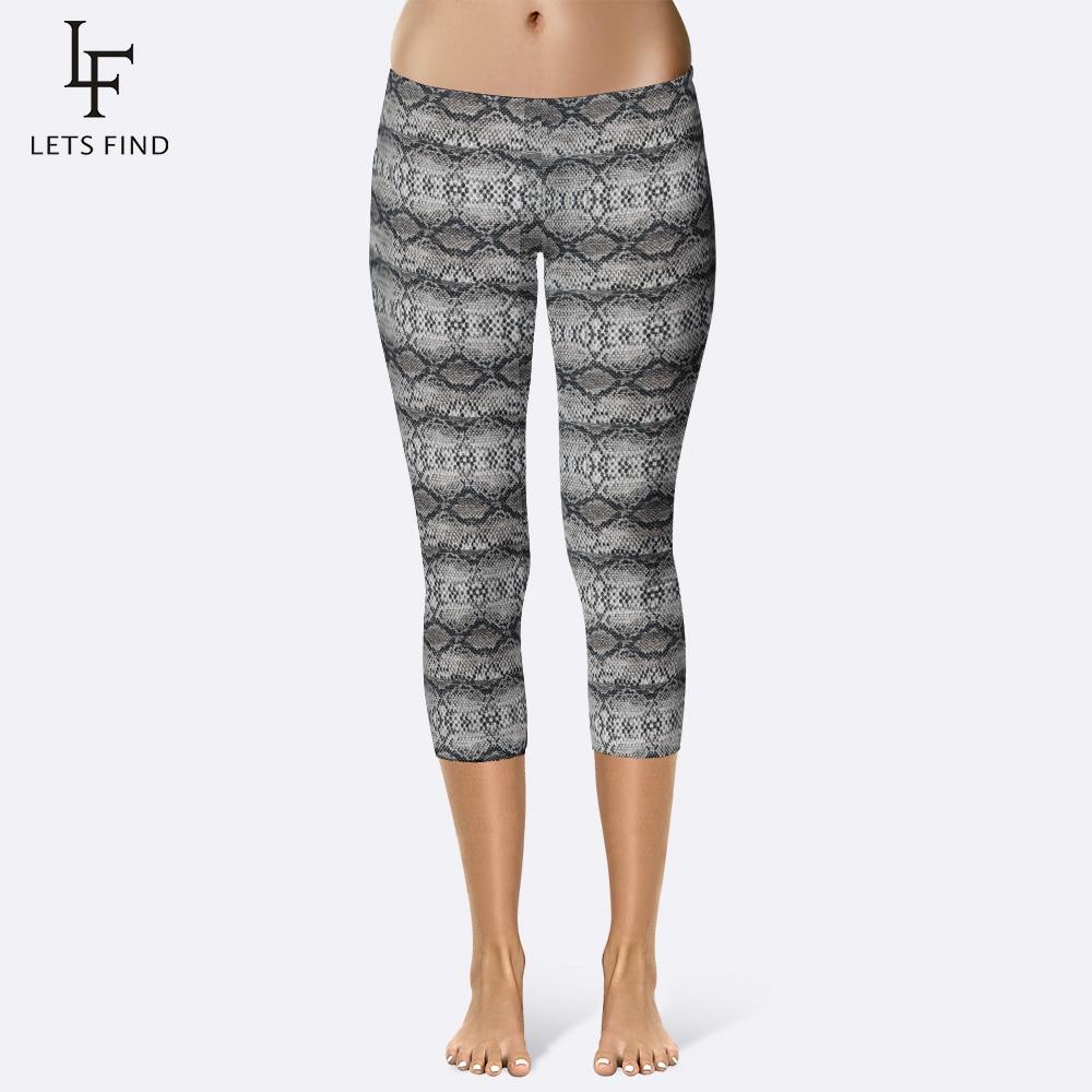 Summer New Women Snake Skin Print Capri Leggings Fashion Sexy Mid-Calf 3/4 Plus Size Elastic Leggings Capri Pants