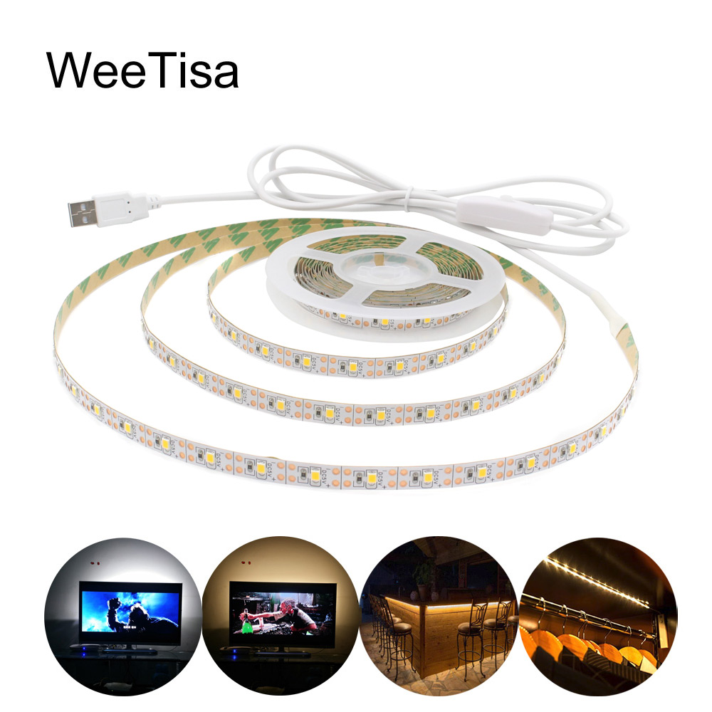 5V LED Strip USB Waterproof SMD 2835 Warm White 1M 2M 3M 4M 5M Fita LED Stripe Tape Light with Switch for TV Background Lighting(China)