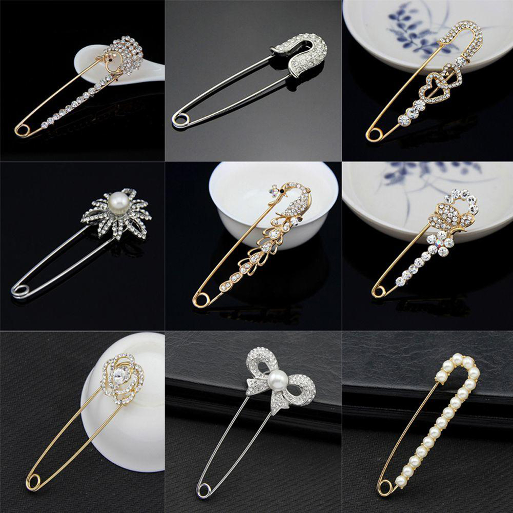 Golden Crystal Rhinestone Bowknot Hat Clothes Scarf Shawl Safety Pin Brooch