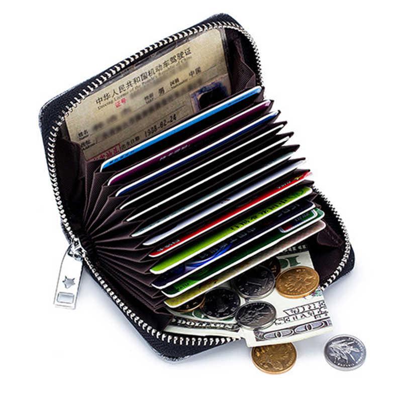 Moda Bloqueio RFID Acordeão Das Mulheres Curto Carteira ID Titular do Cartão de Crédito Portátil Ocasional Senhora Pequena Moeda Bolsa Saco de Embreagem Mini
