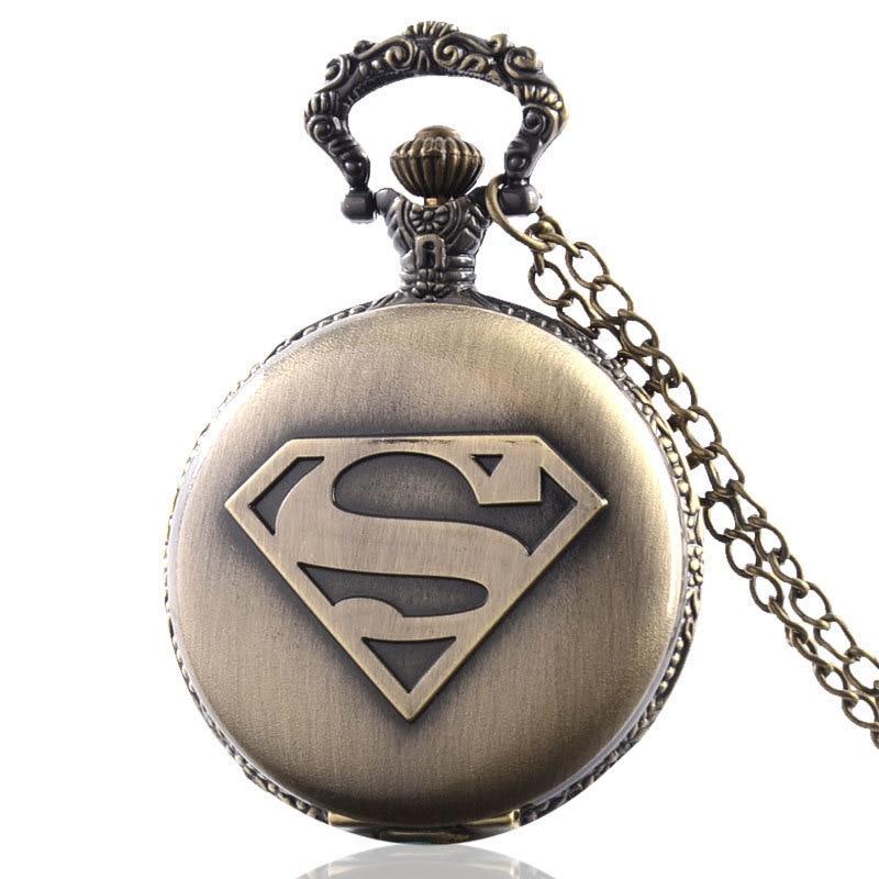 Vintage Bronze Quartz Pocket Watch Men Superman Necklace Pendant Gift Cosplay