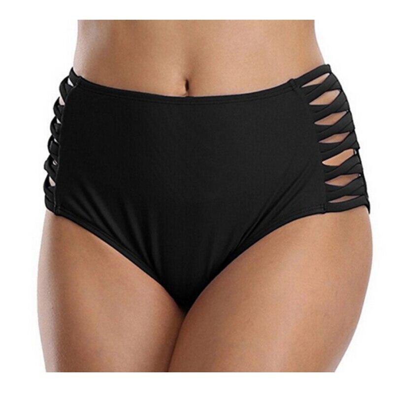Summer Swimwear Women Hollow Bikini Bottom High Waist Cotton Panties Ladies Seamless Briefs Knickers Female Solid Bathing Suit