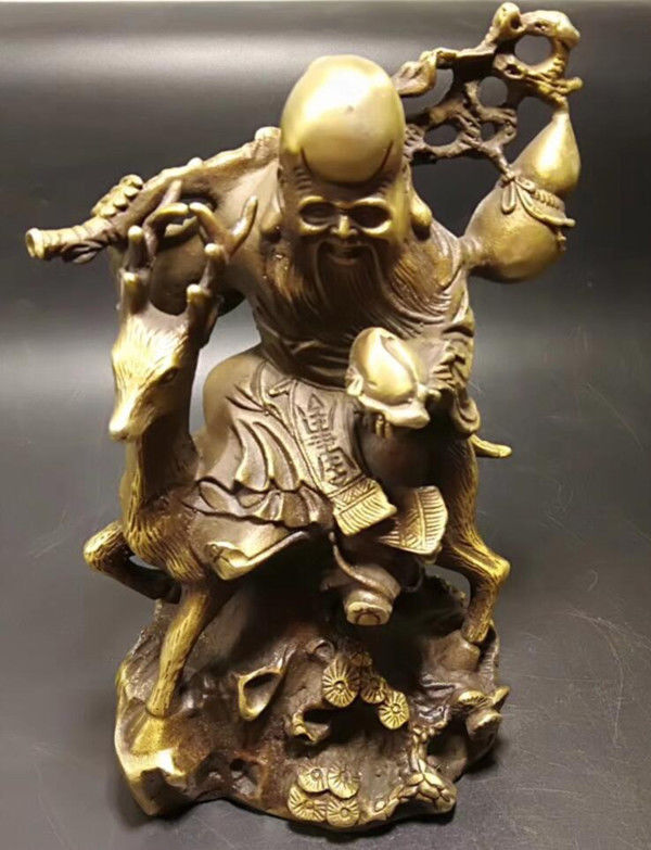 Chinese Old Brass Longevity Buddha Ride a deer StatueChinese Old Brass Longevity Buddha Ride a deer Statue