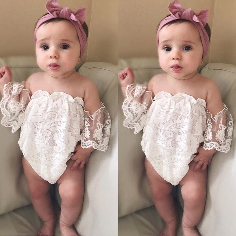 2019 Summer Cute Toddler Baby Girl Clothing White Lace   Romper   Sleeveless Off Shoulder Backless Jumpsuit Outfits Clothes 0-24M