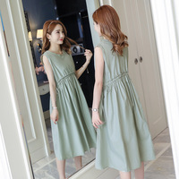 9bf723702 Pregnant Dress New Summer Korean Version Of Maternity Dresses Long Solid  Color Simple Round Neck Pregnant. Vestido ...