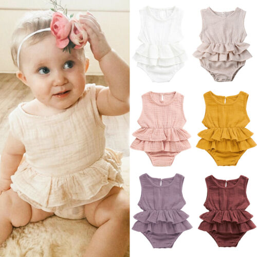 Newborn Kids Baby Girls Clothes Sleeveless Striped   Romper   Tutu Dress Cotton And Linen Outfit