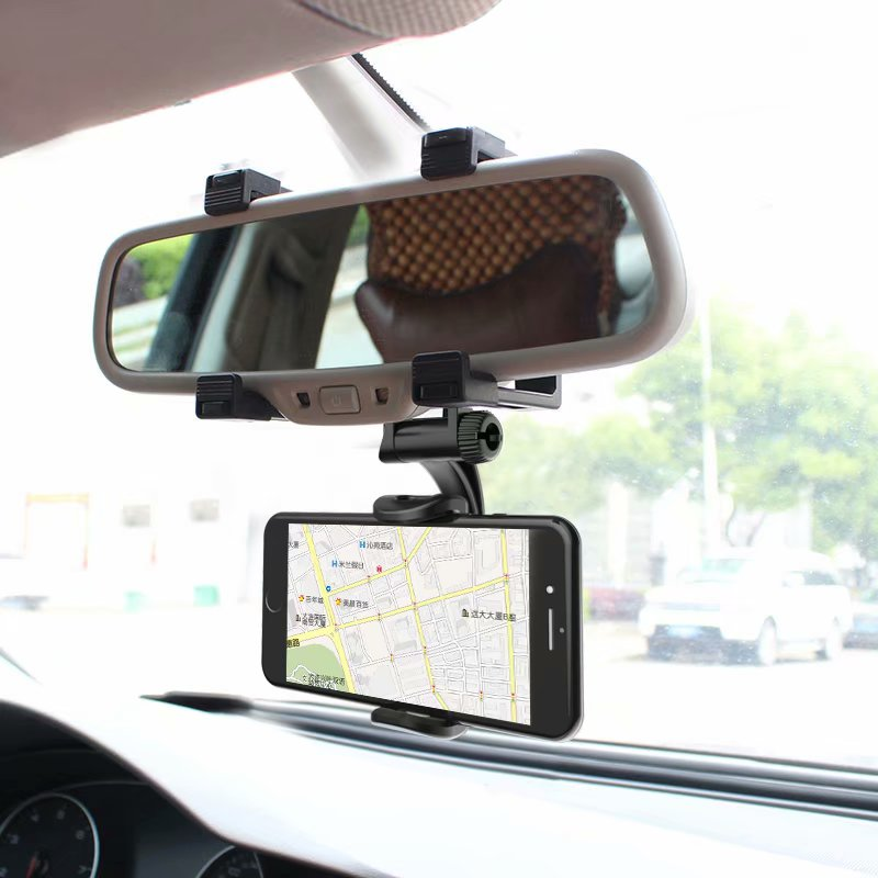 "Car Phone Holder Rearview Mirror Mount Stand Holder for iPhone Huawei Samsung GPS Adjustable Car 4-5.8"" Smartphone Holder"