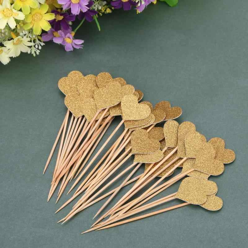 40pcs/set Colored Bling Heart Shape Insert Cards with Toothpick for Wedding Birthday Party Cute Lovely Gifts Cake Decorations