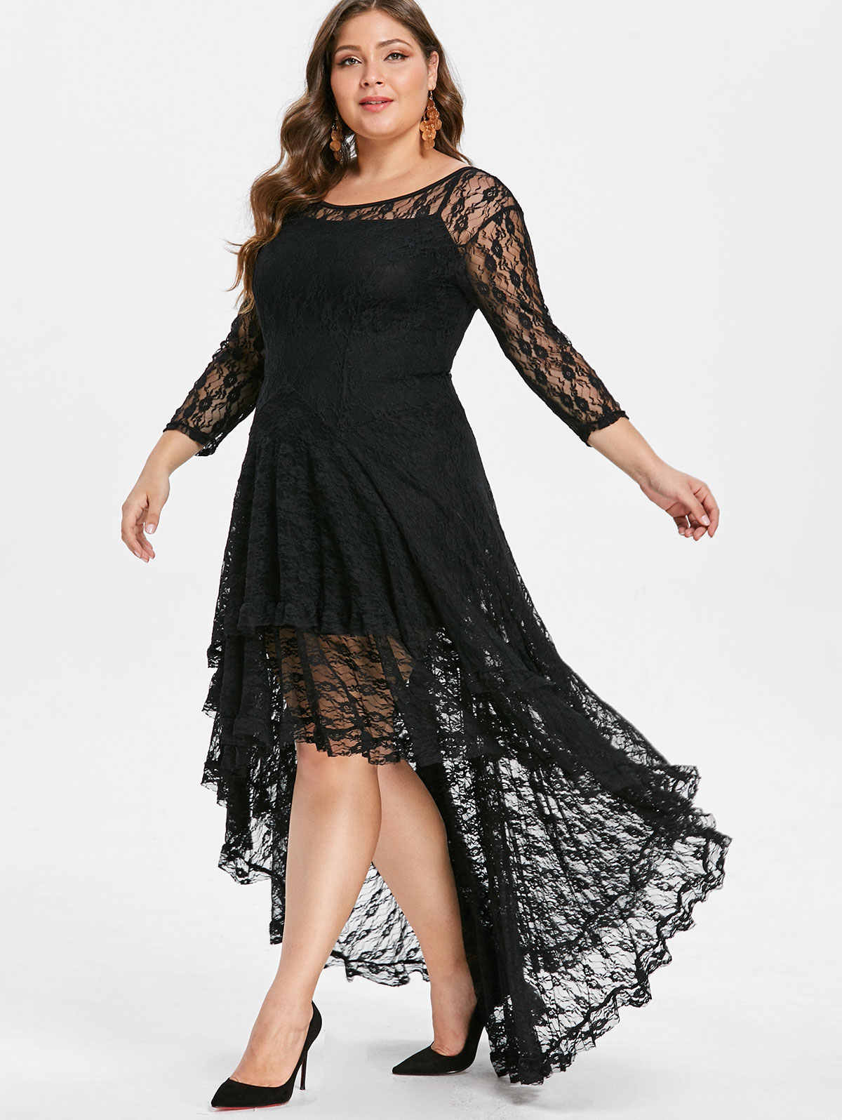 ac6cd78f18c5 ... AZULINA Plus Size High Low Lace Dress With Cami Dress Women Clothes  Fall Spring See Thru ...