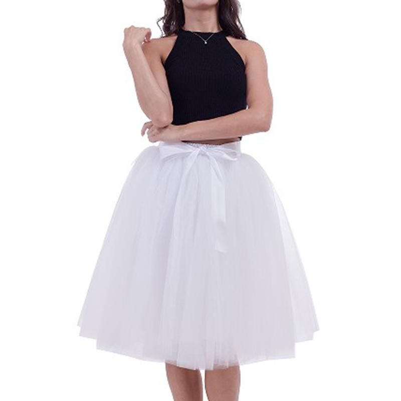 Women Skirt Solid Color Ballet Tulle Tutu Skirt Wedding Evening Party Princess Gauze Skirt For Ladies