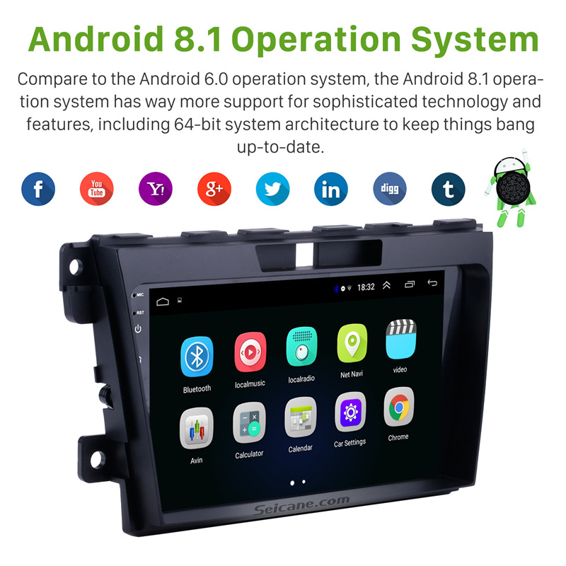 Seicane <font><b>2Din</b></font> 9 inch Android 8.1 Car Radio For <font><b>MAZDA</b></font> <font><b>CX</b></font>-<font><b>7</b></font> 2007 2008 2009 2010 2011 2012-2014 GPS car Multimedia Player Head Unit image