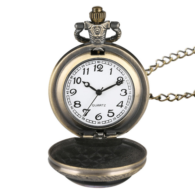Antique Lion King Theme Fob Pocket Watch Quartz Pendant Necklace Clock Numerals Analog Display Children Watches Gifts New 2019